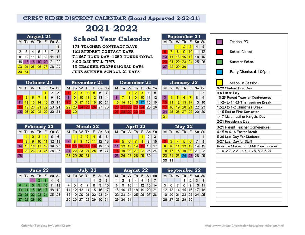 BOARD APPROVES 2021-22 DISTRICT CALENDAR