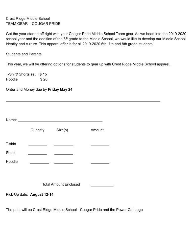 Cougar Wear order form