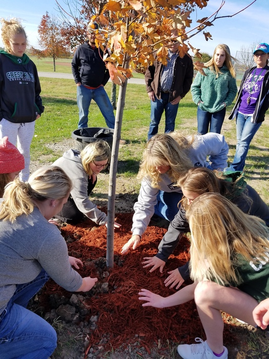 Parent and students spread mulch