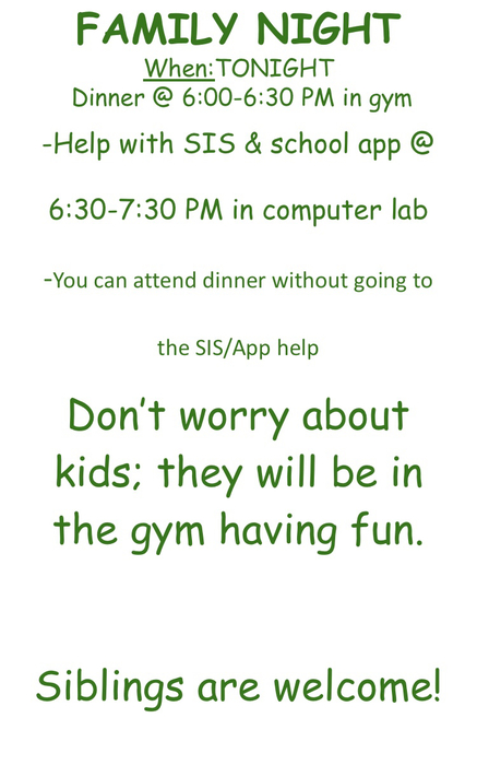 Don't forget! ASC is hosting a family night for elementary parents. (If you signed up)