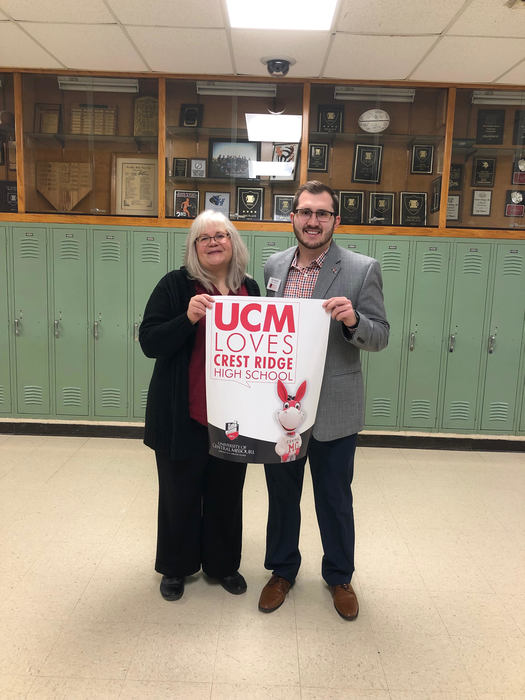 UCM Admissions Rep., Tyler Misuraca and Crest Ridge Secondary Counselor, Joni Shelton