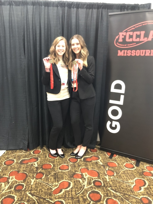 Congratulations to Hailey Buttram and Sarina Robbins for taking home the GOLD at the State FCCLA Competition in Osage Beach, MO! These excellent ladies proudly represented Crest Ridge Cougars in the category of Focusing on Children competing against 54 participants! Way to go girls!!!