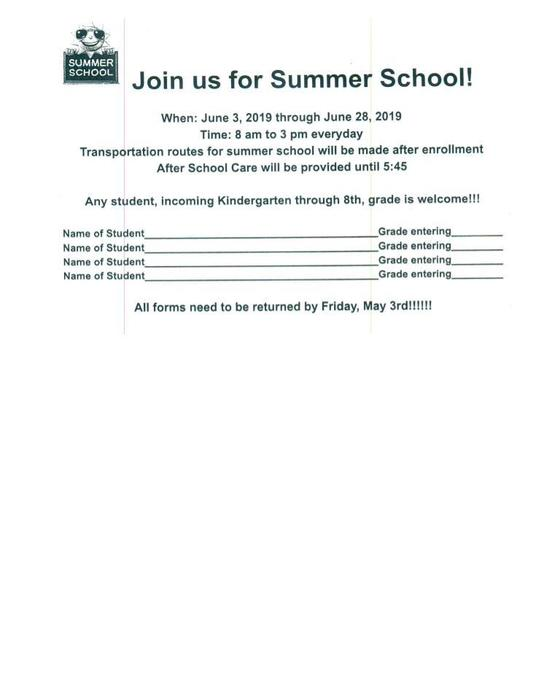 Summer School Sign ups due May 3rd!!!
