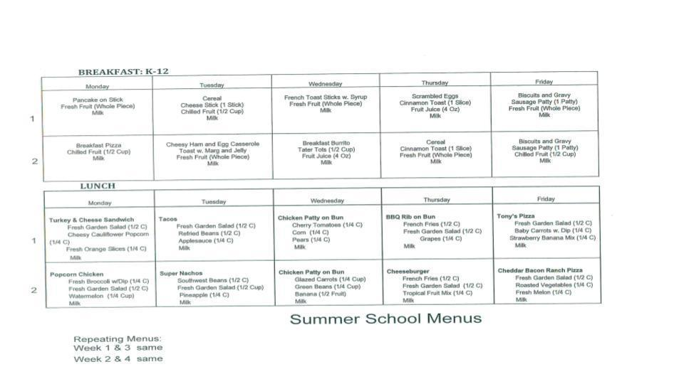 Summer School Lunch Menu